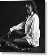 Beauty With Sax Metal Print