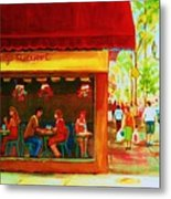 Beautys Cafe With Red Awning Metal Print