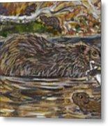Beaver Family Animal Vignette Metal Print
