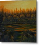 Beaver Pond At Sunset Metal Print by Rebecca  Fitchett