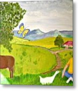 Becky And The Butterfly Metal Print