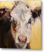 Bed Head Cow Metal Print