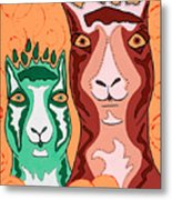Bedazzled Llamas Metal Print