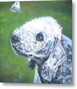 Bedlington Terrier With Butterfly Metal Print
