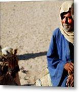 Bedouin Man In Blue Metal Print by Chaza Abou El Khair