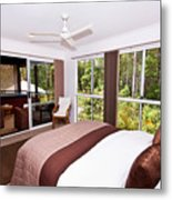 Bedroom With Brown And Cream Theme Metal Print