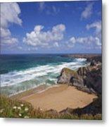 Bedruthan Steps Beach And Atlantic Surf In Summer Sun Cornwall  Metal Print