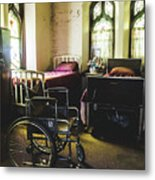 Beds And Wheelchair In Abandoned Church Metal Print