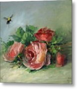 Bee And Roses On A Table Metal Print