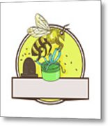 Bee Carrying Gift Box Skep Circle Drawing Metal Print