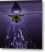 Bee Drilling Wood Metal Print