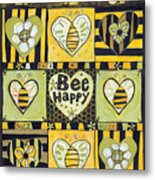Bee Happy Metal Print by Jen Norton