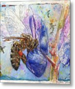 Bee On Blue Lupin Blossom. Metal Print
