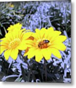 Bee On The Yellow Metal Print