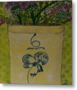 Bee Sting Crock With Good Luck Bow Heather And Thistles Metal Print