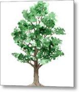 Beech Tree Minimalist Watercolor Painting Metal Print