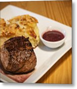 Beef Steak With Potato And Cheese Bake Metal Print
