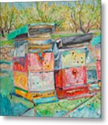 Beehives In Orchard Metal Print