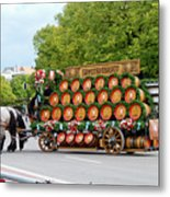 Beer Barrels On Cart Metal Print