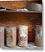 Beer Cans On Shelf Metal Print