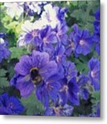Bees And Flowers Metal Print