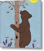 Bees And The Bear Metal Print
