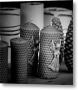 Beeswax Candles With Angels And Pinecones Metal Print