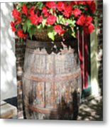 Begonias In The Barrel Metal Print