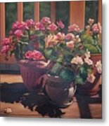 Begonias On Deck Metal Print