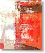 Behind The Corner - Warm Linear Abstract Painting Metal Print