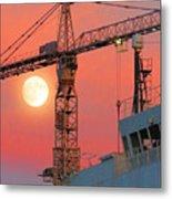 Behind The Crane A Hunter's Moon Rises II Metal Print