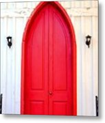 Behind The Red Door Metal Print