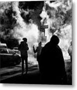 Behind The Smoke Metal Print