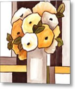 Beige And Brown Funny Flowers Metal Print