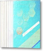 Beige And Turquoise Candy Stripes Metal Print