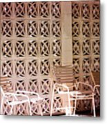 Beige Chairs Palm Springs Metal Print