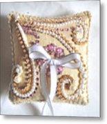 Beige-white Wedding Ring Pillow Metal Print