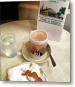 Beignet And Coffee At Cafe Du Monde Metal Print