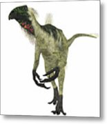 Beipiaosaurus Dinosaur On White Metal Print