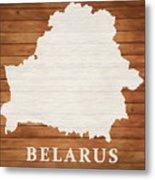 Belarus Rustic Map On Wood Metal Print
