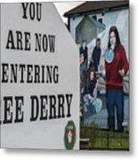 Belfast Mural - Free Derry - Ireland Metal Print