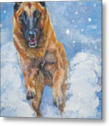Belgian Malinois In Snow Metal Print