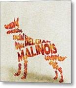 Belgian Malinois Watercolor Painting / Typographic Art Metal Print