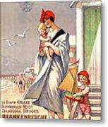 Belgium Ostende Vintage Travel Poster Restored Metal Print