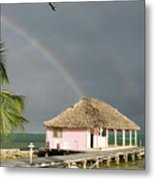 Belize Double Rainbow Metal Print