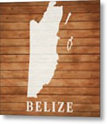 Belize Rustic Map On Wood Metal Print