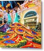 Bellagio Conservatory Fall Peacock Display Side View Wide 2 To 1 Ratio Metal Print