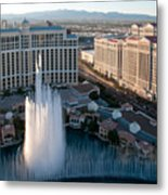 Bellagio Fountains At Dusk Metal Print by Andy Smy