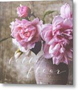 Belle Fleur Pink Peonies Metal Print