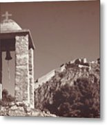 Belltower And Fortress Of Palamidi, Nafplio, Greece. Sepia. Metal Print